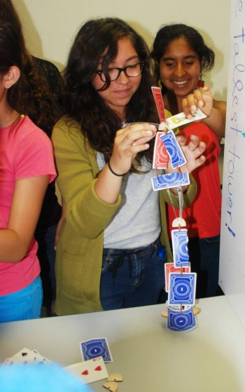 At E&M Labs, scholars had the opportunity to play with Skallops. Here they are trying to build the tallest structure possible.
