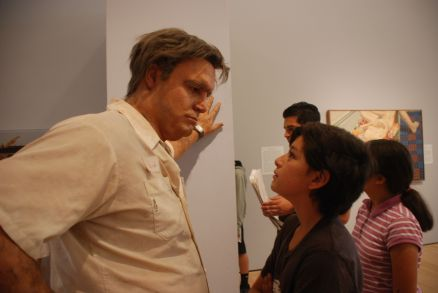 This scholar makes new friend at the Cantor Arts Center, Stanford University.