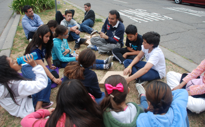 Scholars enjoying the beautiful Berkeley day while having delicious Cheeseboard pizza.