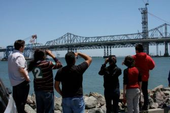 DaVinci Camp gets quite a view of the Bay Bridge from Yerba Buena Island