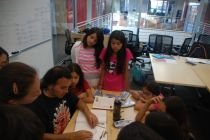 At Stanford University, DaVinci Camp staff member explains a bit of geometry with the use of a compass and protractor.