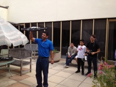 Professor of Civil Engineering at UC Berkeley, Dr. Sengupta, shows the scholars the drones he uses for his research.