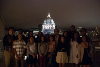 DaVinci Camp poses in front of San Francisco city hall after attending The San Francisco Symphony: Pixar in Concert.