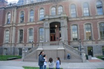 In front of South Hall, the oldest building in Berkeley campus, DaVinci Camp staff explains some of UC Berkeley's history.