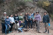 DaVinci camp poses for a photo with Geologists, Sara Beroff and Grace Beaudoin during their hike near Berkeley fire trails.