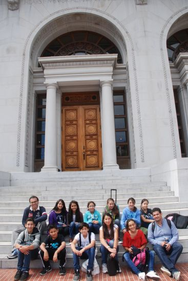 DaVinci camp sits on the steps outside of the Hearst Mining Memorial Building at UC Berkeley.