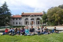 Next to Bruce Beasley's 'Rondo' sculpture at the Hearst Mining Circle Pool at UC Berkeley, DaVinci Camp says hello.