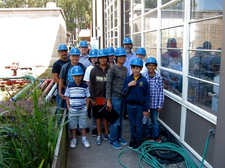 At the UC Berkeley civil engineering department, students worked in the earthquake simulator lab at PEER (Pacific Earthquake Engineering Research) Center.