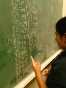 Scholar demonstrates her newly learned method of squaring numbers at UC Berkeley.