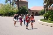 DaVinci Camp walking around the main quad area at Stanford University.