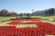 At the main entrance of Stanford University, DaVinci Camp poses for the camera