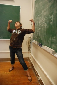 A scholar is expressing her joy after mastering the Egyptian numerical system.