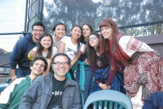 """The DaVinci Camp scholars and staff pose with """"Comedy of Errors"""" actress, Patty Gallagher, who is also a Professor at UC Santa Cruz."""