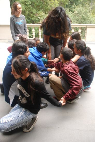 Session 1 and Session 2 of DaVinci Camp join the human-knot fun!