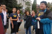 DaVinci Camp staff member tells fun facts about UC Berkeley and gives the students a tour of the campus.