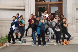 DaVinci Camp posing as secret agents in front of UC Berkeley's Durant Hall.