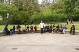 DaVinci camp staff member is taking center stage outside of the Valley Life Sciences Building at the UC Berkeley Campus.