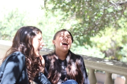 During a break, these scholars share some laughs.
