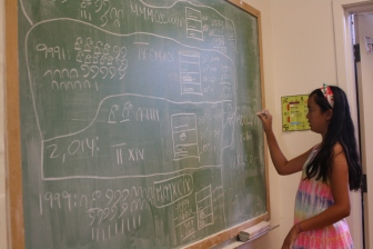 Teachers aren't the only ones allowed to use the board at DaVinci Camp!