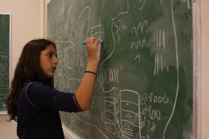 This scholar pays careful attention to her Mayan numbers.