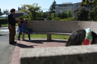 On a tour of UC Berkeley's campus, the scholars had the chance to try out the whispering bench.