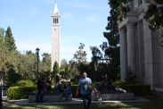 The group takes a break from the campus tour of UC Berkeley to strike a pose with the famous Sather Tower.