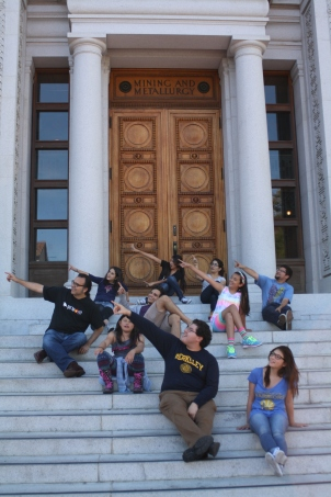 The DaVinci Camp group points towards a bright future in front of UC Berkeley's Hearst Memorial Mining Building.