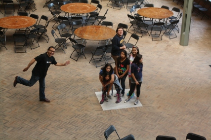 Even staff can be silly! at the Hearst Memorial Mining Building at UC Berkeley.