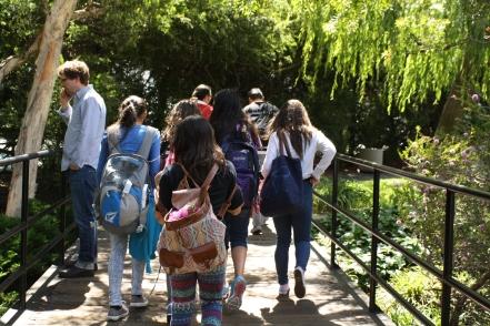 All the DVC ladies walk together to the Exploratorium.
