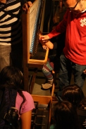 DaVinci camp reviews the concept of square roots at this ball launching exhibit.