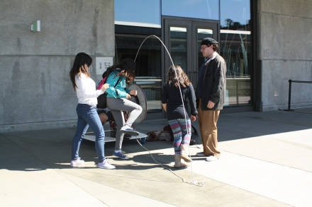 Everyone enjoys jumping rope at the Exploratorium.
