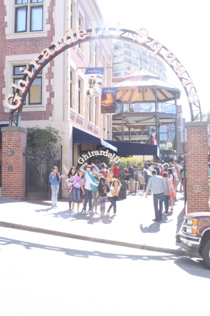 Scholars and Staff pose in front of the famous Ghirardelli Square!