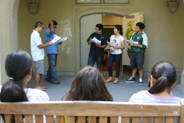 DaVinci Camp staff performs a scene from Shakespeare's Taming of the Shrew to expose them the variety of the arts.