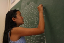 This young mathematician knows that focus is important to solving a problem.
