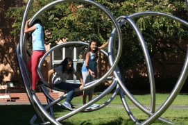 Scholars take a quick break from math and explore the functional art found on UC Berkeley's campus.