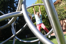 During a break, the scholars stretched their limbs on a functional art installation on UC Berkeley's campus.