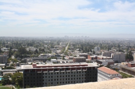 A view of Telegraph Avenue and Downtown Oakland as seen from UC Berkeley's Sather Tower.