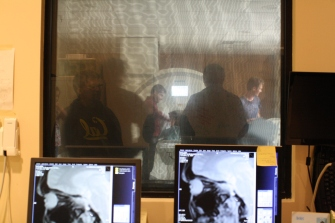 DaVinci camp visits the Veterans Affairs hospital in San Francisco to observe an MRI machine and its use.