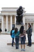 """The DaVinci Camp group learning about Rodin's """"The Thinker"""" at The Legion of Honor."""