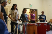 DaVinci Camp scholars concentrated on maintaining the beat during their drumming session.