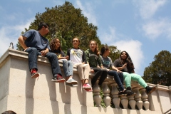 While on lunch break, DaVinci Camp scholars and staff check out the view from greater heights.