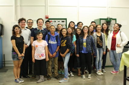 Both sessions of the DaVinci camp pose for a photo at the conclusion of their tour of the mechanical engineering building, Hesse Hall.