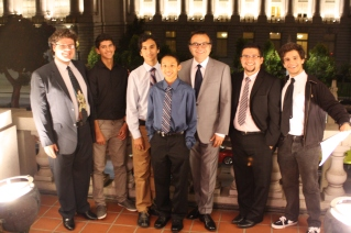 The Gentlemen of the DaVinci camp pose for a photo on the balcony of the San Francisco Opera House