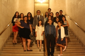 After watching the opera, La Traviatta, scholars and staff pose for a photo inside the San Francisco Opera House