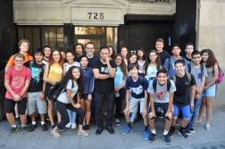 DaVinci camp gathers for a group photo after visiting L.A. artist, Gronk Nicandro.