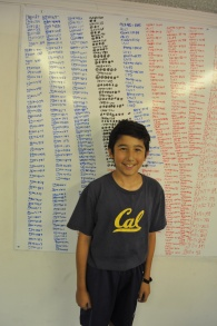 A young scholar shows off his hard work on the board.