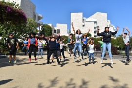 DaVincis jump for joy as they explore the wonders of the Getty Research Institute.