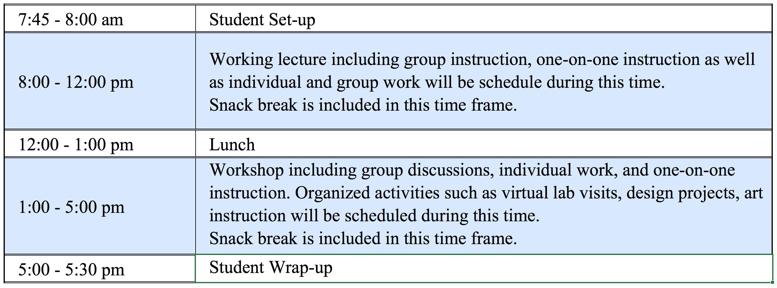 DVC Sample Schedule 2021